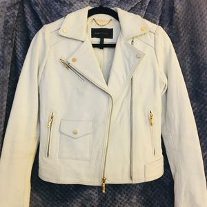 BCBGMAXAZRIA white genuine leather motio jacket